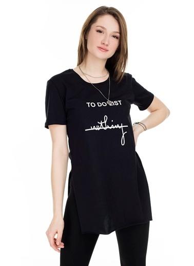 Lela Lela Bisiklet Yaka Kadın T Shirt 5411063TDL Siyah